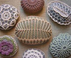 Crocheted Lace Stone, Golden Beige, Fern Pattern, Green Speckled Stone. $49.00, via Etsy.