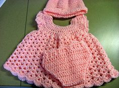 Baby Dress,bonnet and diaper cover - crochet free pattern.