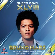 Bruno Mars to perform at Pepsi Super Bowl XLVIII Halftime Show.in other news, all NFL players were asked to relinquish their man cards. I guess this is another half time I'll want to skip. Bruno Mars Cd, Bruno Mars Hair, Beyonce, Unorthodox Jukebox, Mars Photos, Indie, Nfl, Party Playlist, Halftime Show