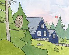 Owl #56 Woodland Cabin and Owl 8x10 Nursery Art Print - david scheirer