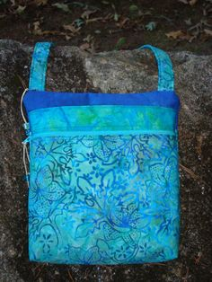 Blue and Teal Floral Purse Cross Body bag by Jackiesewingstudio on Etsy