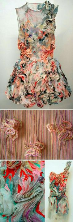 Fabric manipulation and textile design - by Marit Jujiwara fabric textile manipulation fashion design inspiration Textile Texture, Textile Fabrics, Fabric Textures, Fashion Design Inspiration, Mode Inspiration, Costume Original, Textile Manipulation, Fabric Manipulation Fashion, 3d Mode
