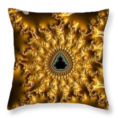 """Brown And Golden Abstract Fractal Art Throw Pillow. Our throw pillows are made from 100% cotton fabric and add a stylish statement to any room.  Pillows are available in sizes from 14"""" x 14"""" up to 26"""" x 26"""".  Each pillow is printed on both sides (same image) and includes a concealed zipper and removable insert (if selected) for easy cleaning. Matthias Hauser hauserfoto.com - Art for your Home Decor and Interior Design needs."""