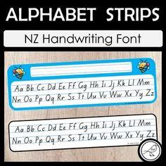 New Zealand Handwriting – Alphabet Strips Handwriting Alphabet, Alphabet Writing, Alphabet Cards, Teaching Aids, Teaching Writing, Spelling Words, Sight Words, School Resources, Classroom Resources