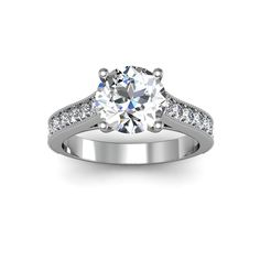2 1/2ct TDW Classic Engagement Ring with 2ct Center Diamond In 14k White Gold (H-I, I1-I2) (Size 6.5), Women's, White H-I