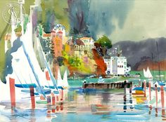 Corinthian Island and Raccoon Straits, 1990, California art by Ken Potter. HD giclee art prints for sale at CaliforniaWatercolor.com - original California paintings, & premium giclee prints for sale