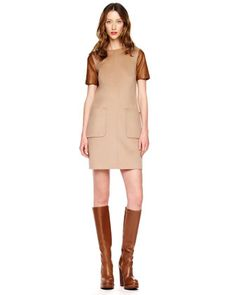 Michael Kors Leather-Sleeve Felt Dress