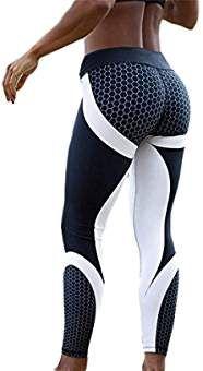 Wenyujh Femmes Leggings Pantalon de Sport Imprimé Motif Nid d'Abeille Fashion Pantalon Streche Collant Taille Haute Yoga Gym Fitness