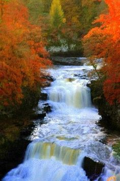 Falls of Clyde in full flow, New Lanark, Scotland