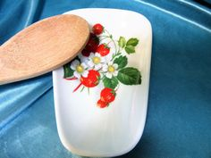 Spoon Rest Kitchen Strawberry Ceramic Porcelain Pottery Hand Crafted blm by PorcelainChinaArt on Etsy