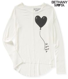 Long Sleeve Heart Balloon Hi-Lo Knit Top from Aeropostale
