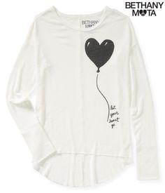 Long Sleeve Heart Balloon Hi-Lo Knit Top from Aeropostale