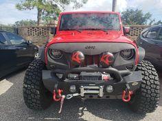 "Jeep Wrangler Accessories - KC HiLiTES 5110 6"" Round Black Vinyl Light Cover w/ Red KC Logo - Set of 2 Jeep Wrangler Lights, Jeep Wrangler Tj, Jeep Wrangler Accessories, Light Covers, Monster Trucks, Logo, Red, Black, Logos"