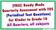 Ready Made Periodical Test Questions for all Grades with TOS – Quarter) - Kindergarten Lesson Plans Color Worksheets For Preschool, Kindergarten Addition Worksheets, Kindergarten Lesson Plans, Preschool Printables, Summative Test, Grade 1 English, Test Exam, Daily Lesson Plan, Classroom Rules