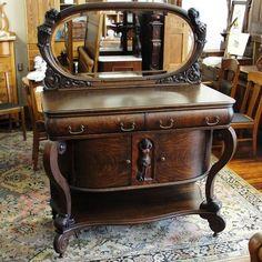 Victorian Era Quarter Sawn Oak Sideboard with Oval Mirror and Cherubs