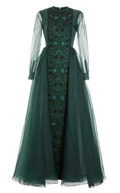Shop Raso Cuir Long Sleeve Embroidered Gown With Pleated Back. This long sleeved sheer chiffon Valentino gown features a high round neck, buttoned cuffs, an embroidered vertical panel at the front, an A-line waist and a pleated back. A Line Long Dress, Green Long Sleeve Dress, A Line Gown, Green Dress, Green Evening Gowns, Long Sleeve Evening Dresses, Long Sleeve Gown, Sleeve Dresses, Ball Dresses