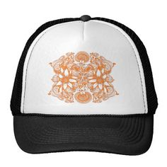 Stunning and eye catching, this modern and stylish floral design will bring out your boho chic style.  See more at www.zazzle.com/tribalstyledesign and www.tribalstyledesign.com #zazzle #zazzlemade #orange #truckerhat