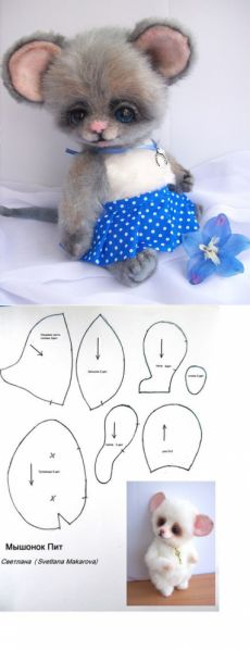 Sewing Patterns Toy Mice 69 New Ideas Animal Sewing Patterns, Stuffed Animal Patterns, Doll Patterns, Bear Patterns, Fabric Crafts, Sewing Crafts, Sewing Projects, Pet Toys, Doll Toys