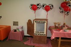 Photo booth at a cowboy birthday party! See more party planning ideas at CatchMyParty.com!