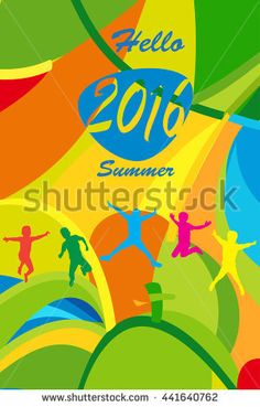 Rio. 2016 Abstract Summer background. Happy Kids jumping on colorful abstract wavy background. Summer Brazil color and text Hello Summer 2016 for Sport  Art, Print, web advertising design.