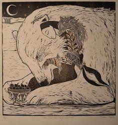 she fed him ripe cherries // jackie morris Art And Illustration, Potnia Theron, Art Magique, His Dark Materials, Bear Art, Art Graphique, Polar Bear, Printmaking, Illustrators