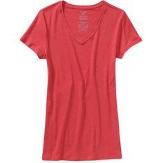 Faded Glory Women's Baby Rib V-Neck T-Shirt, Size: Small, Orange
