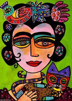 Sandra Silberzweig Goddess Face Frida Cat Peacock 8 X 10 Canvas Print Abstract Portrait, Abstract Art, Sandra Silberzweig, Bokashi, Arte Popular, Mexican Folk Art, Face Art, Oeuvre D'art, Creative Art