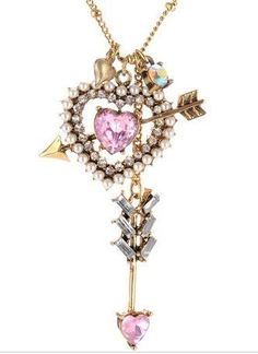 Image detail for -... cute bj alloy crystal heart & arrow pendant necklace, vintage jewelry
