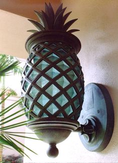 Is your outdoor light boring? Welcome your guests with this tropical pineapple outdoor light sconce! Design Tropical, Tropical Home Decor, Tropical Houses, Coastal Decor, Tropical Furniture, Tropical Interior, Tropical Colors, Tropical Garden, Coastal Living