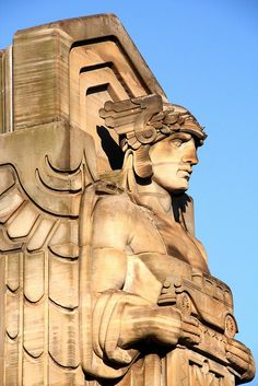 Art Deco Mercury pylon, Lorain-Carnegie Bridge, Cleveland OH