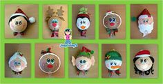 ESFERAS NAVIDEÑAS Polymer Clay Christmas, Christmas Ornaments To Make, Christmas 2017, Christmas Projects, All Things Christmas, Christmas Tree Decorations, Holiday Crafts, Christmas Bulbs, Pen Toppers