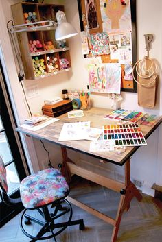 art room Like many artists, I love color, nature, and beautiful design, but I am also inspired by peoples stories and hearts. Stephanie Miller Corfee shares her whimsical art style inside Where Women Create.