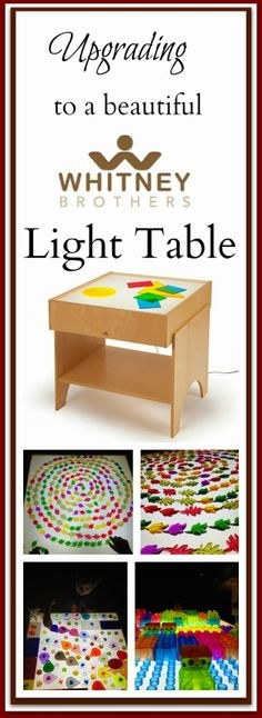 My twins and I have recently received a beautiful Whitney Brothers light table. It is a really wonderful light table and I feel it is a hug. Reggio Emilia, Autism Activities, Science Activities For Kids, Sensory Lights, Preschool Colors, Finger Lights, Crafts For Kids, Diy Crafts, Sensory Play