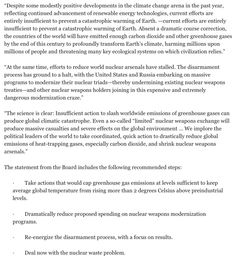 """F3 - Bulletin of the Atomic Scientists, Washington, 22 Jan, 2015: Press release: It is now 3 minutes to midnight...CLIMATE CHANGE AND NUCLEAR TENSIONS PUSH DOOMSDAY CLOCK HANDS FORWARD. """"Extraordinary and Undeniable"""" Climate, Weapons Threats Cited for Movement; Doomsday Clock Adjustment is 1st in 3 Years and is Accompanied by Urgent Call for Action."""
