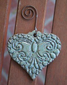 Robins Egg Blue Lace Valentine Heart Ornament by muddyfingers