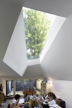 Lens House interior - view of skylight.