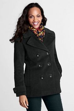 Pea Coats for Women | Women's Luxe Wool Insulated Pea Coat from Lands' End