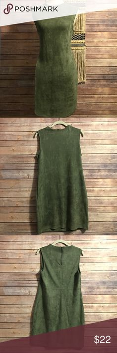 Green suede dress Green suede dress size large zips in back at top. High neck sleeveless dress. chloe & katie Dresses