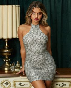 4f1afb95 Flash Dance Racer Front Beaded Embellished Mini Dress in Silver Going Out  Dresses, Evening Dresses
