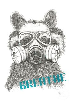 Limited Edition Hand finished Racoon in mask Giclee Print – Naomi Watkins Art