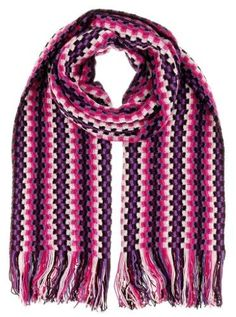 Missoni D4902 0001 Pink/Purple Wool Blend Crochet Knit Scarf