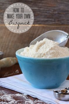 DIY Bisquick : Worth mixing ahead of time if you use it regularly ~ •3c FLOUR .. •1/2 TBSP SALT .. •1 1/2 TBSP. BAKING POWDER .. •1/2 stick cold butter, cold coconut oil or shortening - Pulse it together, jar it, label it & refrigerate it. (Keeps up to 4 weeks)