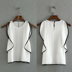 Women's Fashion Summer Sleeveless Flounce trim Pullover Blouse - OASAP.com