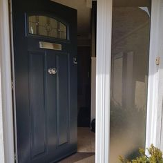 Composite Front Doors Uk, Grey Front Doors, Front Doors With Windows, Front Door Colors, House Front Door, House Doors, Porch Ideas, Door Ideas, Solidor Door