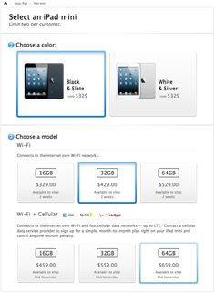 Select an iPad Mini at Apple.com