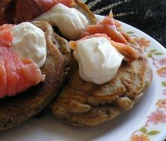 Buckwheat pancakes with smoked salmon