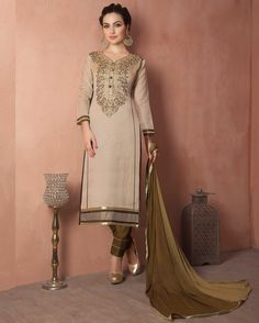 Beige   enchanting Embroidered Chanderi Designer Salwar Suits for women(Semi   Stitched)       Fabric:   Chanderi       Work:   Embroidered       Type:   Designer Salwar Suits   for women(Semi Stitched)       Color:   Beige                 Fabric To