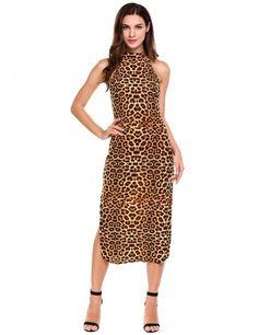 Women Halter Sleeveless Side Slit Leopard Print Long Dress