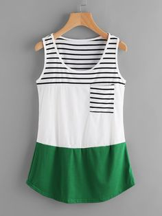 SheIn offers Color Block Contrast Striped Tank Top & more to fit your fashionable needs. Look Fashion, Fashion Outfits, Redo Clothes, Fancy Tops, Best Tank Tops, Pretty Shirts, Striped Tank Top, Leggings Fashion, Blouse Designs