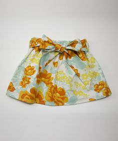 Look at this #zulilyfind! Orange & Blue Floral Sash Skirt - Toddler #zulilyfinds